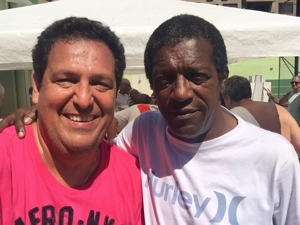 Elson Campos Filho (empresário) e Marco Antonio (lateral esquerdo do fluzão e da seleção, nos anos 70. Foto tirada em 2015.